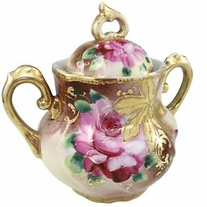 Hand Painted Lidded Sugar Bowl Moriage Pink Roses Porcelain Gold Green Antique
