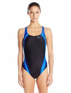 Speedo 8024 Womens Black Quantum Splice Power Flex Eco Swimsuit Size 10