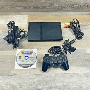 Sony Playstation 2 PS2 Slim Black Console W/ Controller Game Tested and Working