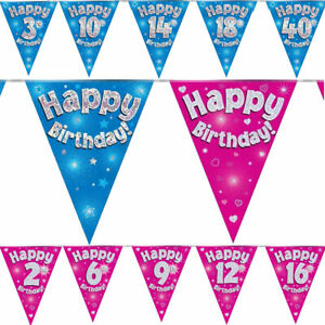 3-9M-Eleganza-Pink-Blue-Holographic-Foil-Birthday-Flag-Banner-Bunting-Age-1-90
