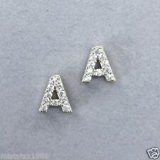 Trendy Gold Finish Accent Initial T Cubic Zirconia Rhinestones Stud Earrings