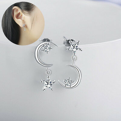 Korean Style Silver Plated Crystal Earrings Star Moon Dangle