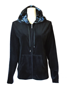Holiday-Front-Zip-Solid-Velour-Floral-Lined-Hoodie-Women-039-s-Long-Sleeve-Jacket