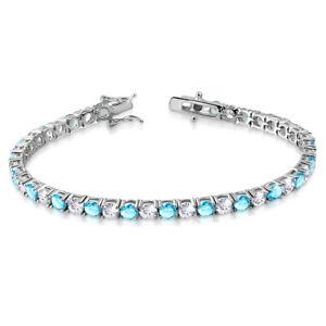 925-Sterling-Silver-White-Clear-Blue-Aquamarine-Tone-CZ-Tennis-Bracelet