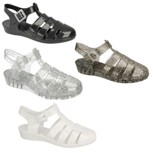 SALE LADIES JELLY BLACK WHITE SILVER GLITTER SANDALS SUMMER BEACH SHOES F10320
