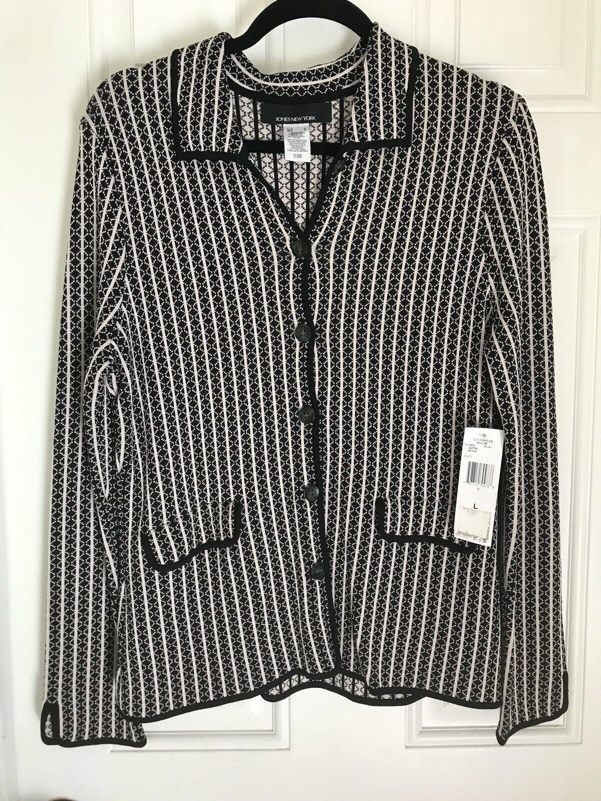 Jones New Yor NWT Button Down Collarot Shirt Jacket schwarz And Weiß Large L