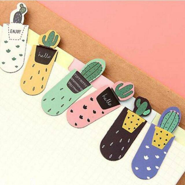3pcs/set Cactus Magnetic Multi-function Bookmark Paper Clip School Office Supply