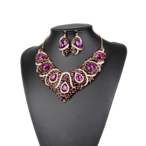 Women/'s Wedding Gold Plated Jewelry Set Crystal Statement Necklace And Earrings