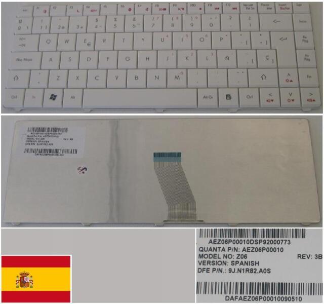 Tastiera Qwerty Spagnola Gateway 4405C D720 Z06 9J.N1R82.A0S AEZ06P00010 Bianco