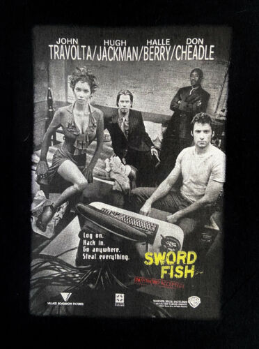 2001 Swordfish Movie Poster T Shirt Sz L John Trav