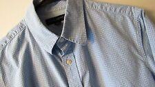 Banana Republic Blue/White Gingham Checks S/S Button-Front Slim Fit 14 1/2 Small