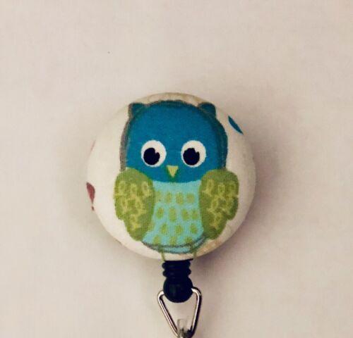 Blue Owl Retractable Badge Holder Nurse Alligator Belt Clip RN CNA JW
