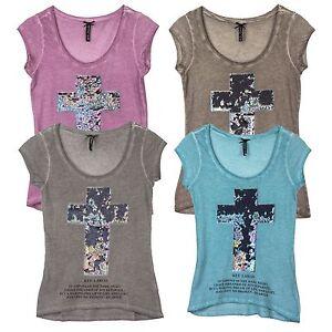 9d439ac5d727dd Das Bild wird geladen KEY-LARGO-Damen-T-Shirt-Rundhals-Tailliert-Wende-