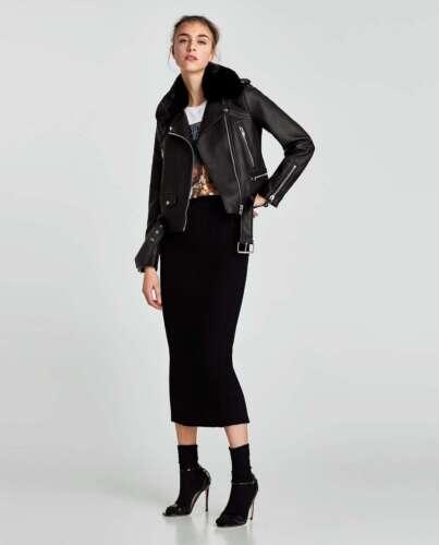 BNWT $139 ZARA Faux Leather Detachable Fur Biker Jacket Black XS S M L 3046//021