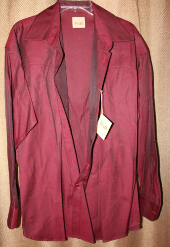 Men/'s Stubbs Western Wear Long Sleeve Shirt NWT Red Black No Buttons Size M