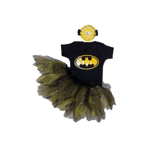 BAT GIRL BABY GIRLS FANCY DRESS 80/'S TUTU SET HEADBAND COSTUME BATMAN BOOK WEEK