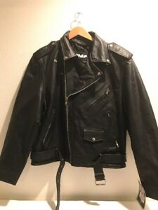 FMC-Mens-Black-Leather-Classic-Biker-Side-Lace-Motorcycle-Jacket-Size-48-NWT