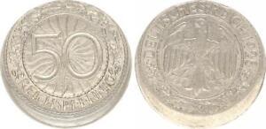 Weimar 50 Pfennig 1928 A Lack Coinage 15% Dezentriert Very Rarely Vf-Xf