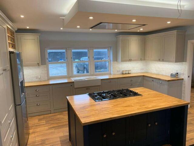 Hand Made Solid Oak Kitchens Made To Measure Island Bespoke Cabinet Doors Ebay