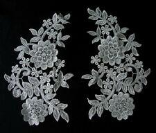 VT92 Large Mirror Pair Floral Lace Venise Venice Applique Motif Cream Sew On