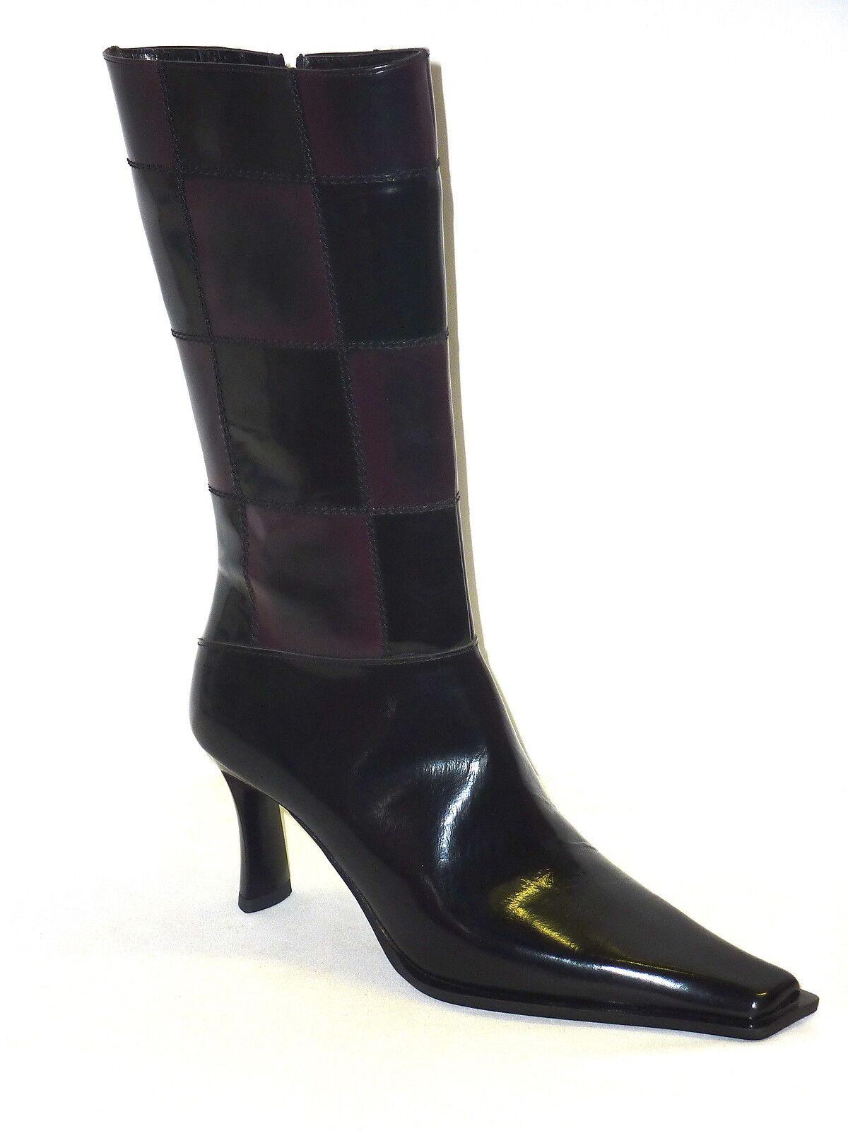 ILIAN FOSSA' bottes femmes STIVALETTI PELLE VERNICE chaussures MODA noir-BORDO' 36