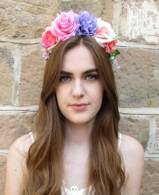 grande rosa púrpura flor de Corona Festival VINTAGE diadema Boho Guirnalda x-47