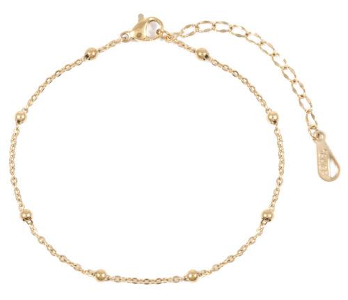 Armband in Gold Feine Armkette mit Kugeln Vergoldetes Armband Edelstahlschmuck