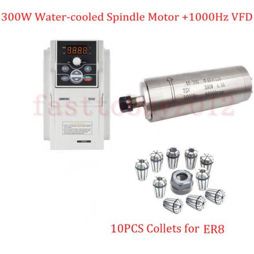 0.4KW VFD+10Pcs Collets+Bracket 300W ER8 Spindle Motor Water-Cooled CNC 1000HZ
