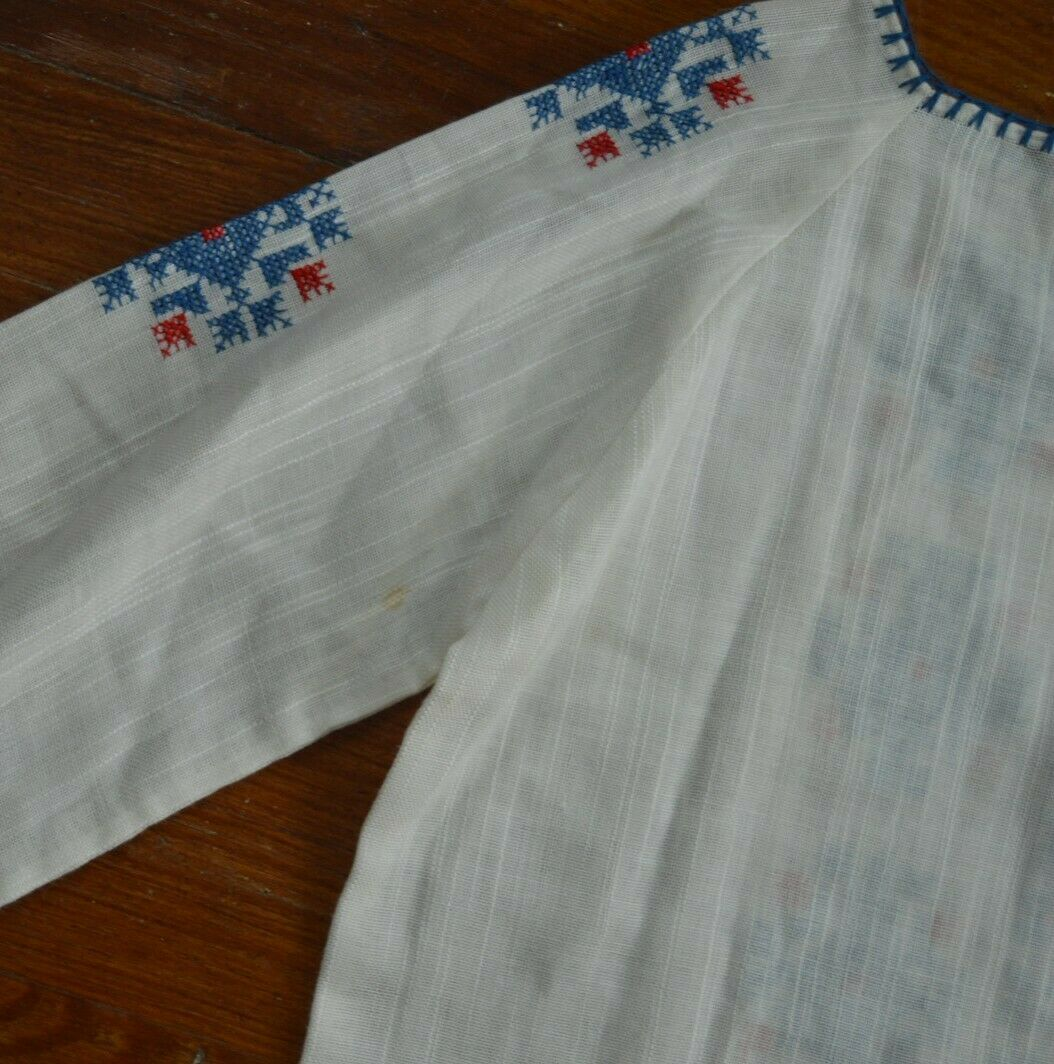 Vintage 1930's Hungarian Cotton Embroidered Blouse - image 5