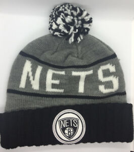 timeless design c601e a8dd7 Image is loading Brooklyn-Nets-Beanie-NBA-Mitchell-amp-Ness-POM-