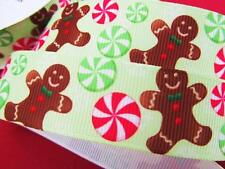 "10 yds Mint Candy Gingerbread Man Grosgrain 7/8"" Holiday Christmas Ribbon RYC-16"