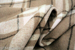 D54-LAMBSWOOL-amp-CASHMERE-LUXURIOUS-PLAID-CHECK-NATURAL-FAWN-TONES-DUSTY-PINK