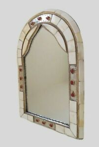 Beautiful Handmade Moroccan Arched Wall Mirror White Color/Camel Bone And Brass