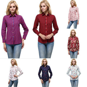 New-Women-Long-Sleeve-V-neck-Loose-Top-T-Shirt-OL-Ladies-Casual-Button-Up-Blouse