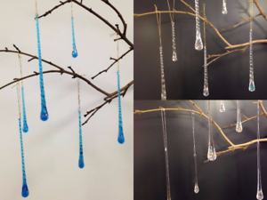 Icicle For Christmas Trees.Details About Glass Icicle Set Of 6 Christmas Tree Decoration Smooth Twisted Blue Ab Crystal