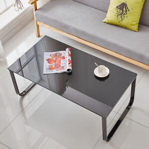 Black-Glass-Coffee-Table-Desk-Workstation-Home-Office-Table-Living-Room-UK
