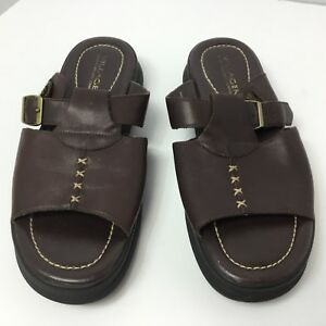 c68ac9498ba266 Image is loading Liz-Claiborne-villager-black-leather-Sandals-SZ-8-