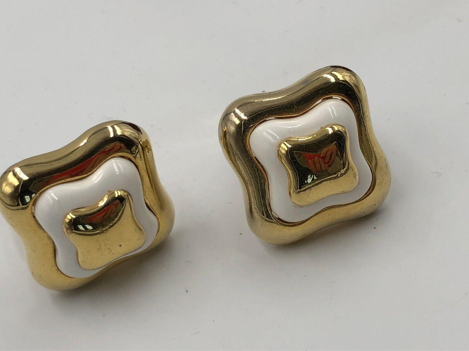 VINTAGE LANVIN SIGNED GOLD ENAMEL EARRINGS CLP FR… - image 5