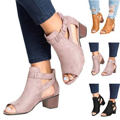 Women/'s High Heel Hollow Unique Design Ankle Open Toe Summer Boots Sandals