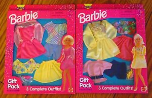 NEW 1996 Lot of 2 BARBIE FASHIONS Gift Pack 6 Complete Outfits! Shoes Clothes