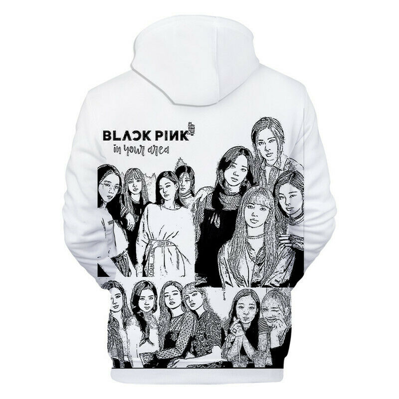 Kpop Blackpink Signature Hoodie Sweatshirt Lisa Jisoo Jennie Rose Hooded Jacket with Drawstring