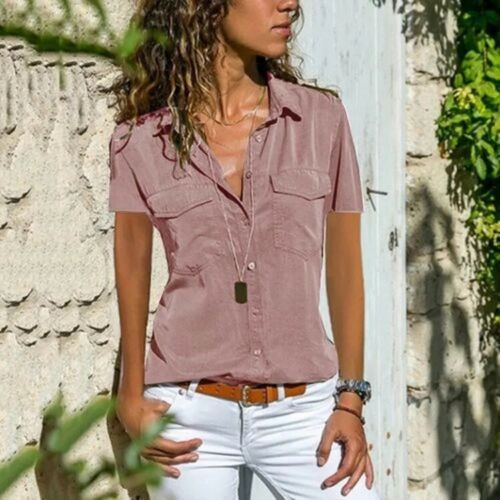 Women/'s Shirts with Lapels Short Sleeve Plain T-shirt Pink S-5XL Top Solid Color