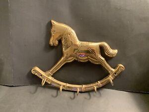 Brass-Rocking-Horse-Wall-Hook-5-Hooks-Home-Decor-8-5-Vintage-Key-Holder