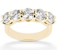 2.25 carat 18k Yellow Gold 5 round DIAMOND Ring Anniversary BAND 0.45 ct each