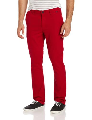 Hurley Men/'s Corman Cotton Twill Slim-Fit Red Casual Pants Retro