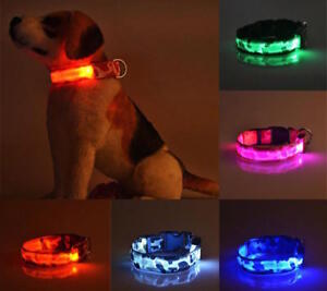 RECHARGEABLE-CAMO-LED-PET-DOG-GLOW-COLLAR-night-harness-flash-light-camouflage