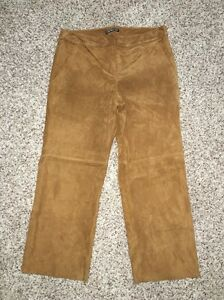 Express-Crop-Pants-100-Genuine-Suede-Size-2-Inseam-22-Camel-Culottes-NWT-128