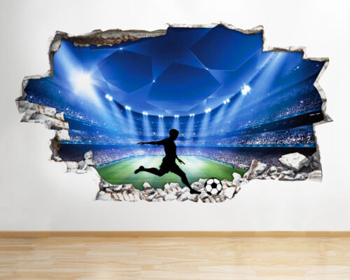 Q075 Football Stadium Silhouette Kids Hole Wall Decal 3D Art Stickers Vinyl