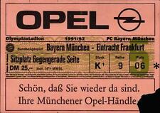 Ticket BL 91/92 FC Bayern München - Eintracht Frankfurt, Sitzplatz Gegengerade