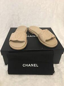 4b7e81ba5d6f Image is loading Chanel-Beige-Patent-Leather-CC-Mules-Pool-Slide-